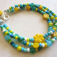Bright Colours Bracelet - Blue and Green Mix SALE 9.00