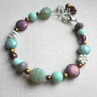 Purple, Mint and Gold Bracelet SALE 10.00
