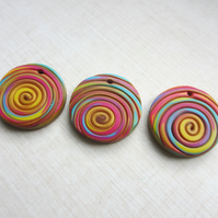 Multicoloured Round Charm - polymer clay