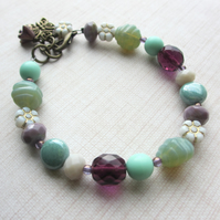 Mint and Purple Bracelet