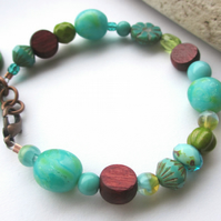 Aqua and Green Leaf bracelet SALE 8.00