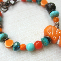 Orange Elephant Bracelet SALE 12.00