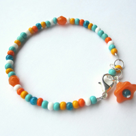 Seed Bead Bracelet - Turquoise and Orange
