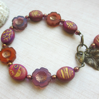 SALE Purple and Gold Blossom Bracelet 10.00