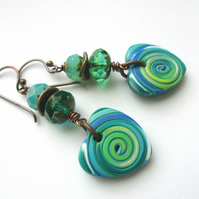 Blue and Green Heart Earrings