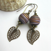 Purple and Gold String Earrings