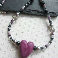 Blackcurrant Heart Necklace SALE 12.00