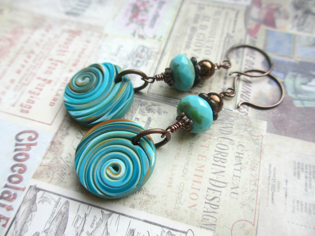 Turquoise and Gold Polymer Clay String Earrings SALE 9.00