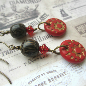 Red and Gold Earrings - polymer clay