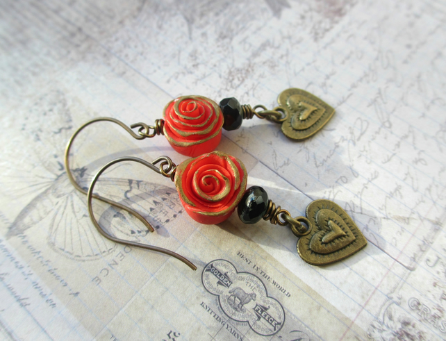 Red Rose Earrings