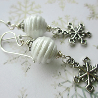 SALE Glittery Snowflake Earrings 9.00