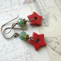 Red and Green Star Earrings