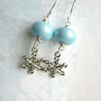 SALE Glittery Blue Snowflake Earrings 8.00