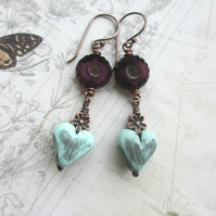 Pale Mint Heart Earrings