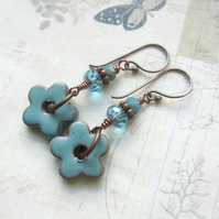 Powder Blue Flower Earrings