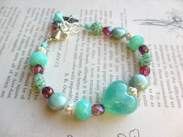 Mint Heart Bracelet SALE 10.00