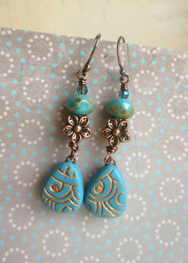 Blue and Copper Flower Dangle Earrings - polymer clay