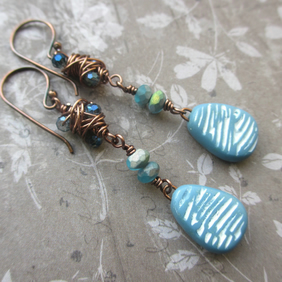 Dusky Blue Wire Wrapped Earrings