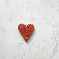 Heart Charm red polymer clay