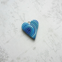 Heart Charm blue polymer clay