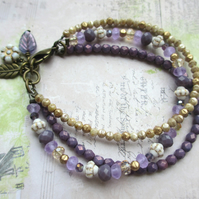 Purple and Gold Three Strand Bracelet