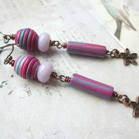 Long Pink Dangle Earrings