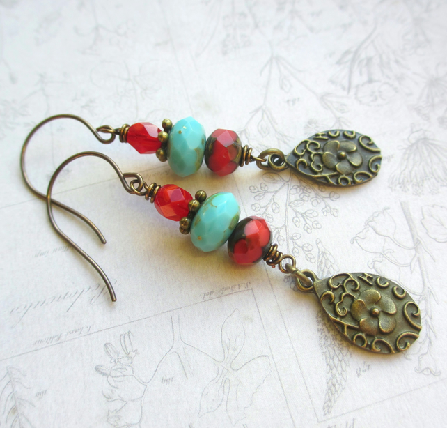 Red and Turquoise Dangle Earrings SALE 8.00
