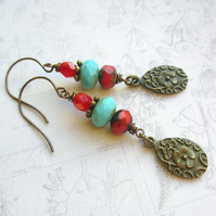 Red and Turquoise Dangle Earrings SALE 7.00