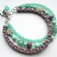 Mint and Purple Three Strand Bracelet