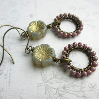 Soft Grey Primrose Earrings