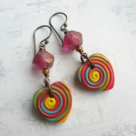 Multicoloured Heart Earrings