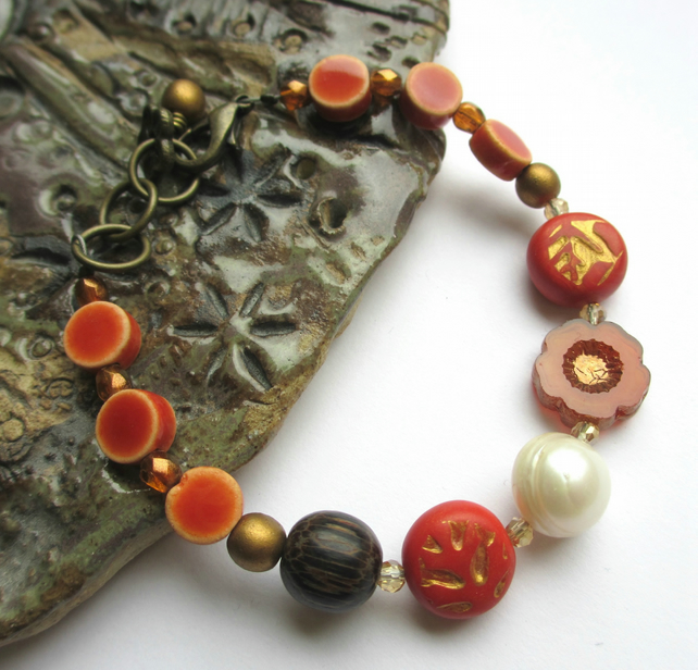 Burnt Orange Flower Bracelet