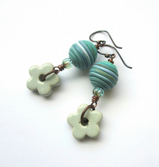 Sea Flower Earrings polymer clay