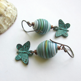 Sea and Sand Butterfly Earrings