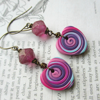 Pink and Purple Heart Earrings polymer clay