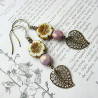 Purple Lustre White Flower Earrings