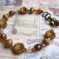 Autumn Flowers Glass Bead Bracelet