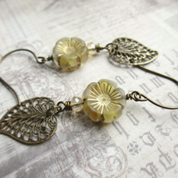 Magnolia Flower and Leaf Earrings