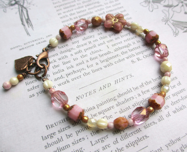 Pretty in Pink Flower Bracelet