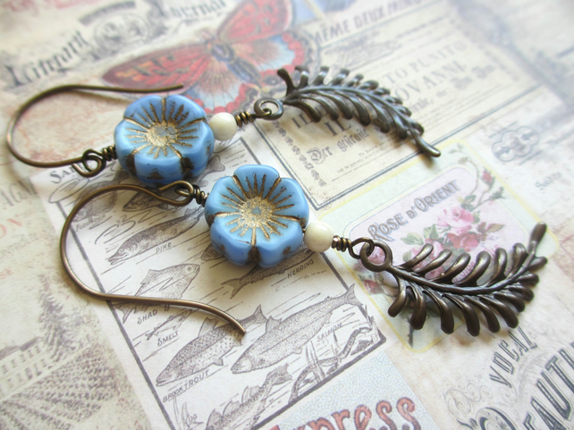 Blue Flower and Fern Earrings