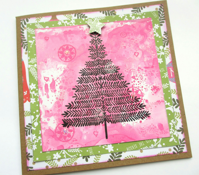 Christmas Tree Card Pink and Green SALE 2.00