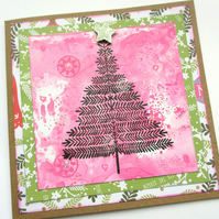 Christmas Tree Card Pink and Green
