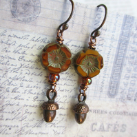 Flower and Acorn Earrings