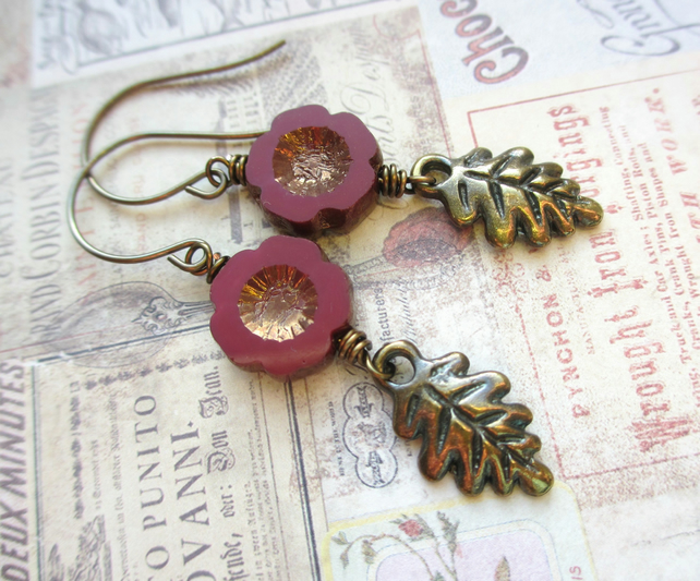 Marsala Flower and Leaf Earrings SALE 9.00