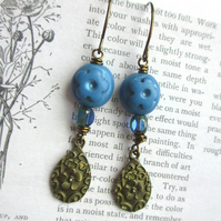 Blue Flower Teardrop Earrings SALE 8.00