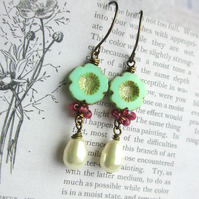 Mint Green Flower and Pearl Earrings