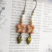 Pink Flower and Heart Earrings
