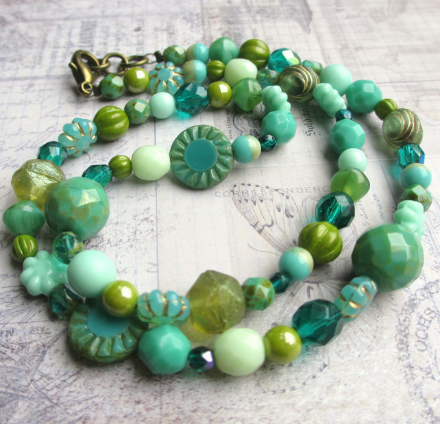 Teal and Green Glass Bead Necklace
