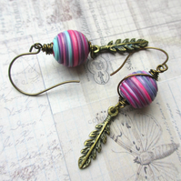 Pink String and Feather Earrings