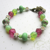 Pink and Green Glass Bracelet